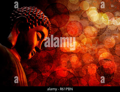 Bronze Red Zen Buddha Statue Meditating - Stock Photo