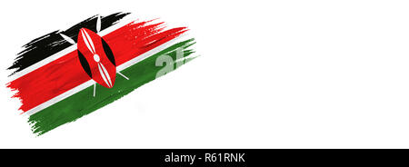 brushes painted flag. Hand-drawn style flag of Kenya isolated on white background with place for text. - Stock Photo