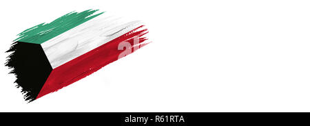 brushes painted flag. Hand-drawn style flag of Kuwait isolated on white background with place for text. - Stock Photo