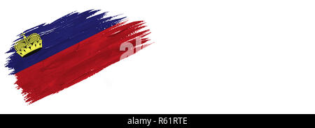 brushes painted flag. Hand-drawn style flag of Liechtenstein isolated on white background with place for text. - Stock Photo