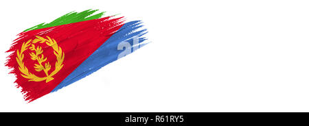 brushes painted flag. Hand-drawn style flag of Eritrea isolated on white background with place for text. - Stock Photo