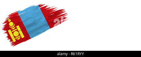brushes painted flag. Hand-drawn style flag of Mongolia isolated on white background with place for text. - Stock Photo