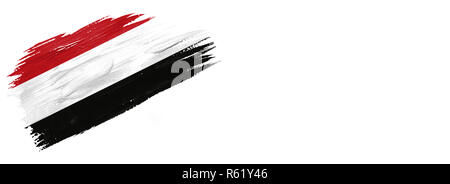 brushes painted flag. Hand-drawn style flag of Yemen isolated on white background with place for text. - Stock Photo
