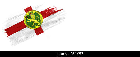 brushes painted flag. Hand-drawn style flag of Alderney isolated on white background with place for text. - Stock Photo