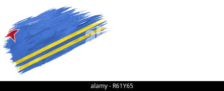 brushes painted flag. Hand-drawn style flag of Aruba isolated on white background with place for text. - Stock Photo