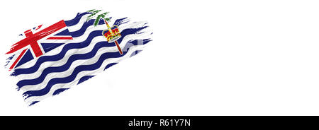 brushes painted flag. Hand-drawn style flag of British Territory in the Indian Ocean isolated on white background with place for text. - Stock Photo