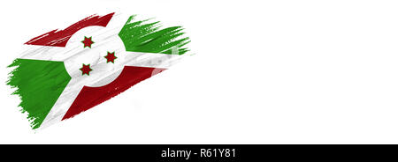 brushes painted flag. Hand-drawn style flag of Burundi isolated on white background with place for text. - Stock Photo
