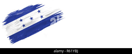 brushes painted flag. Hand-drawn style flag of Honduras isolated on white background with place for text. - Stock Photo