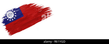 brushes painted flag. Hand-drawn style flag of Myanmar-Burma isolated on white background with place for text. - Stock Photo