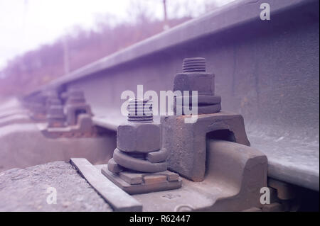 Rail fastener for hold rail with concrete plinth track on viaduct of sky train - Stock Photo