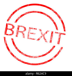 Brexit Red Rubber Ink Stamp - Stock Photo