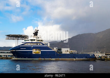 Offshore anchor handling tug supply vessel (AHTS) Normand Drott in the port of Bergen, Norway - Stock Photo