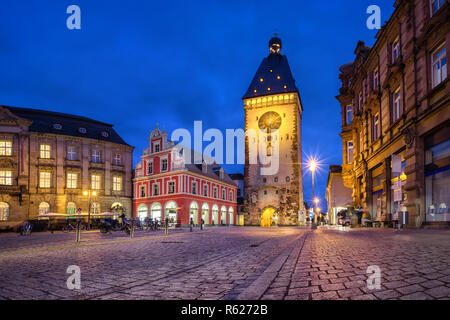 Old Gate (Altpoertel) - medieval west city gate of Speyer, Germany. One of the largest (55 metres high) and most architecturally significant of the re - Stock Photo