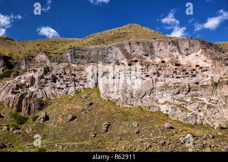 General view of ancient cave monastery Vardzia in Georgia - Stock Photo