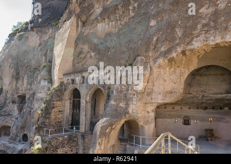 Church of the Dormition in ancient cave monastery Vardzia, Georgia - Stock Photo