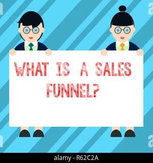 Text sign showing What Is A Sales Funnelquestion. Conceptual photo Explain a marketing advertising method Male and Female in Uniform Standing Holding  - Stock Photo