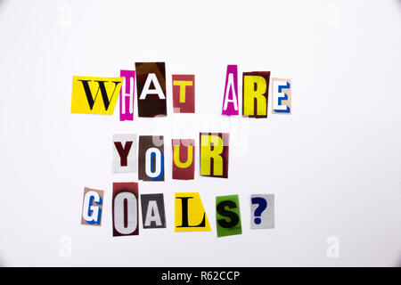 A word writing text showing concept of What Are Your Goals question made of different magazine newspaper letter for Business case on the white background with copy space - Stock Photo