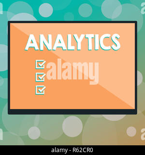 Text sign showing Analytics. Conceptual photo systematic computational analysis of data statistics or infos Rectangular Shape Form in half diagonal sp - Stock Photo