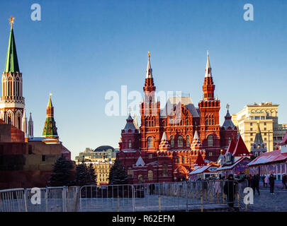 Moscow, Russian Federation.Cremlin and History Museum on Red Square in winter - Stock Photo