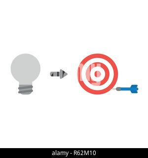 Vector illustration icon concept of grey light bulb with bulls eye and dart miss the target. - Stock Photo