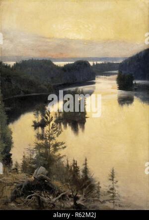 Kaukola Ridge at Sunset. Date/Period: 1889/1890. Painting. Oil on canvas. Width: 83 cm. Height: 116.5 cm (without frame). Author: Albert Edelfelt. Edelfelt, Albert Gustaf Aristides. - Stock Photo