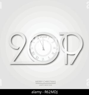 Happy New Year and Christmas card with white text and clock. Vector. - Stock Photo