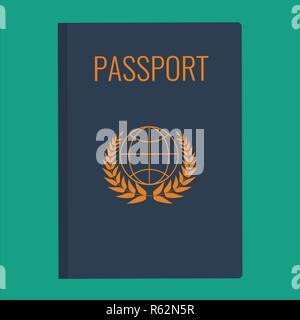 Blue Passport cover vector illustration. Passport icon isolated on white. Passport cover flat design. - Stock Photo
