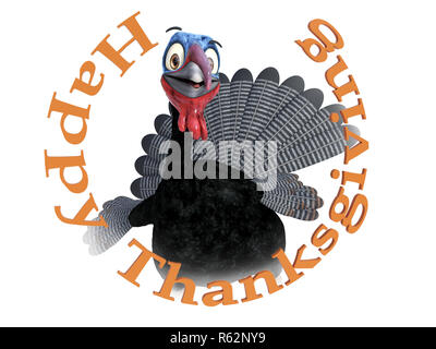A funny silly looking cartoon turkey smiling and looking very happy inside the text 'Happy Thanksgiving', 3D rendering. White background. - Stock Photo