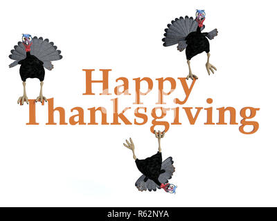 Three funny silly looking cartoon turkeys sitting and hanging on the text 'Happy Thanksgiving', 3D rendering. White background. - Stock Photo
