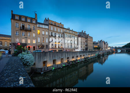 Metz France city by the blue hour. - Stock Photo