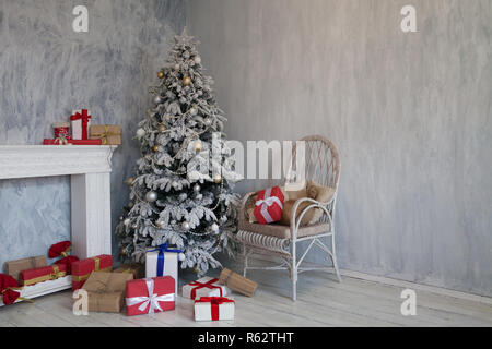 Merry Christmas gifts Interior white room holidays new year tree - Stock Photo