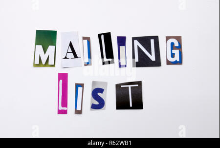 A word writing text showing concept of Mailing List made of different magazine newspaper letter for Business case on the white background with copy space - Stock Photo