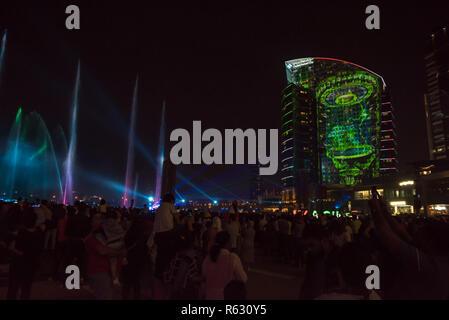 "Dubai, UAE. December 2, 2018 - Dubai Festival City, Dubai, UAE: Light and Laser Show Performance by Imagine ""A child's dream"". Credit: Fahd Khan/Alamy Live News - Stock Photo"