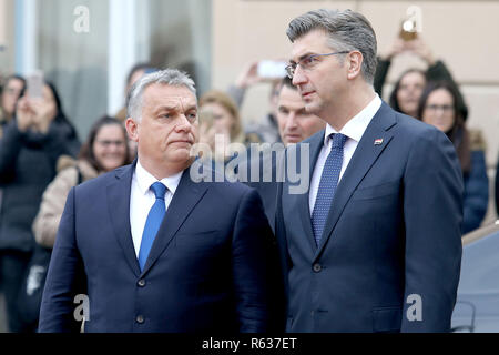 Zagreb, Croatia. 3rd Dec, 2018. Croatian Prime Minister Andrej Plenkovic (R) meets with Hungarian Prime Minister Viktor Orban in Zagreb, Croatia, on Dec. 3, 2018. The two-day summit of the Central European Initiative (CEI) started here on Monday. Prime ministers of six European nations and other high representatives came to discuss security issues and economy. Credit: Patrik Macek/Xinhua/Alamy Live News - Stock Photo