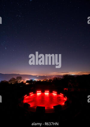 Wirksworth, UK. 03rd Dec, 2018. UK Weather: clear cold starry night at the star disc above Wirksworth in the Derbyshire Dales, Peak District National Park Credit: Doug Blane/Alamy Live News - Stock Photo