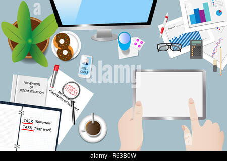 Time stress in office concept vector