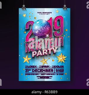 vector illustration new year party celebration poster template design with 3d 2019 number and disco ball on blue
