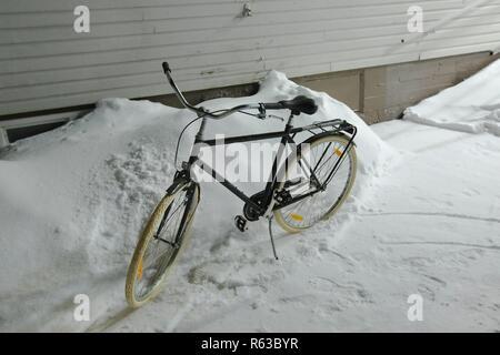Bicycle on snow - Stock Photo