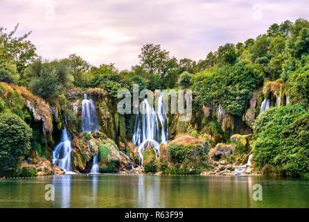 Kravica waterfalls on the Trebizat River in Bosnia and Herzegovina - Stock Photo