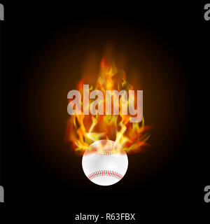 Burning Baseball Ball with Fire Flame - Stock Photo