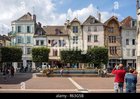 Troyes, France - August 31, 2018:  Ancient half-timbered buildings in Troyes. Aube, Champagne-Ardenne, France - Stock Photo