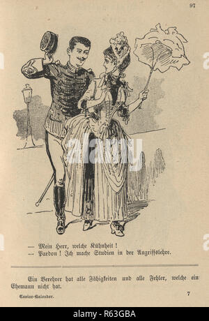 Vintage engraving of a Victorian cartoon of a man in military uniform flirting with a woman, 19th Century German - Stock Photo