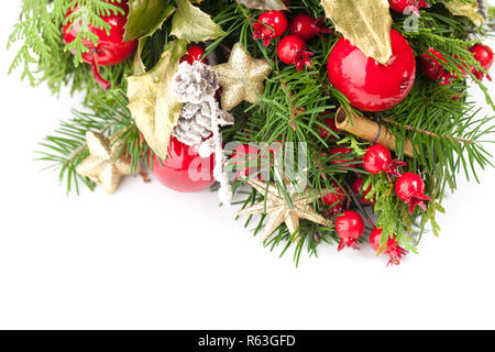 New Year or Christmas background with green Xmas tree twig and decoration - Stock Photo