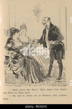 Vintage engraving of a Victorian cartoon of a man wearing a monocle, talking to two woman at a party 19th Century German - Stock Photo