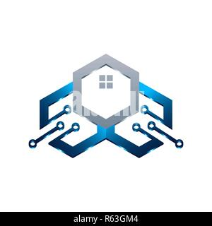Basic of this logo is house and circuit, this logo try to symbolize a modern home technology - Stock Photo
