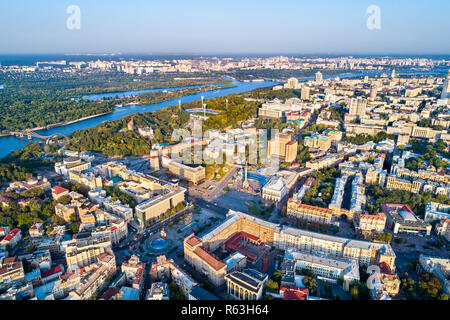 Aerial view of Independence Square - Maidan Nezalezhnosti and other landmarks in Kiev, Ukraine - Stock Photo