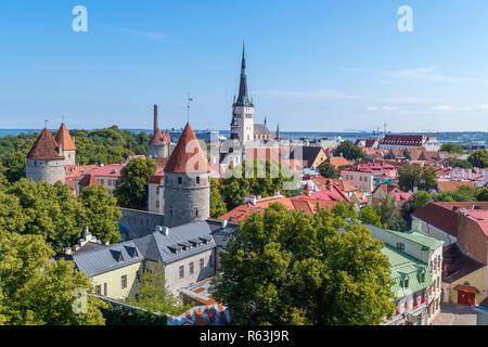 Tallinn, Estonia. View over the Old Town (Vanalinn) from the Patkuli Viewing Platform (Patkuli Vaateplatvorm), Tallinn, Estonia - Stock Photo