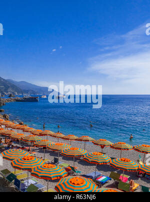 Beach of Monterosso al Mare, Cinque Terre, Rivera di Levante, Province of La Spazia, Liguria, Italy, Europe - Stock Photo