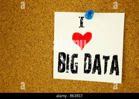 Hand writing text caption inspiration showing I Love Big Data concept meaning Storage Network Online Server Loving written on sticky note, reminder isolated background with copy space - Stock Photo