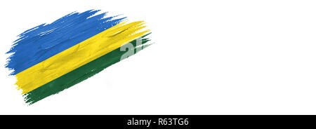 brushes painted flag. Hand-drawn style flag of Rwanda isolated on white background with place for text. - Stock Photo